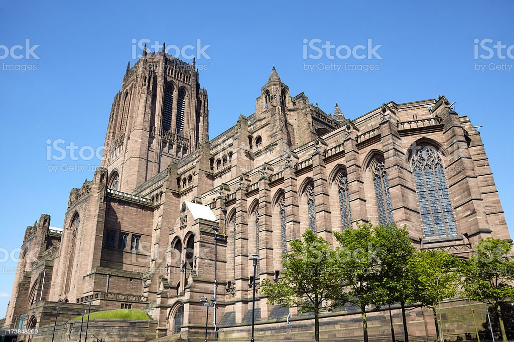 Liverpool Anglican Cathederal with blue clear sky royalty-free stock photo