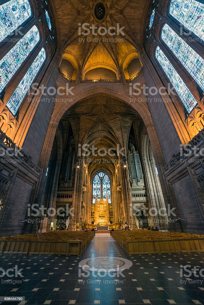 Liverpool Anglican Cathedral Interior stock photo
