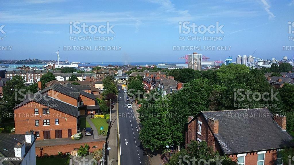 Liverpool bootle docks stock photo