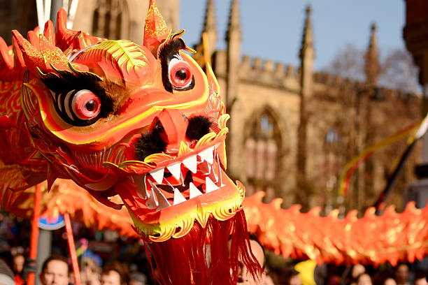 liverpool chinese new year dragon dancers stock photo - Chinese New Year Dragon Dance