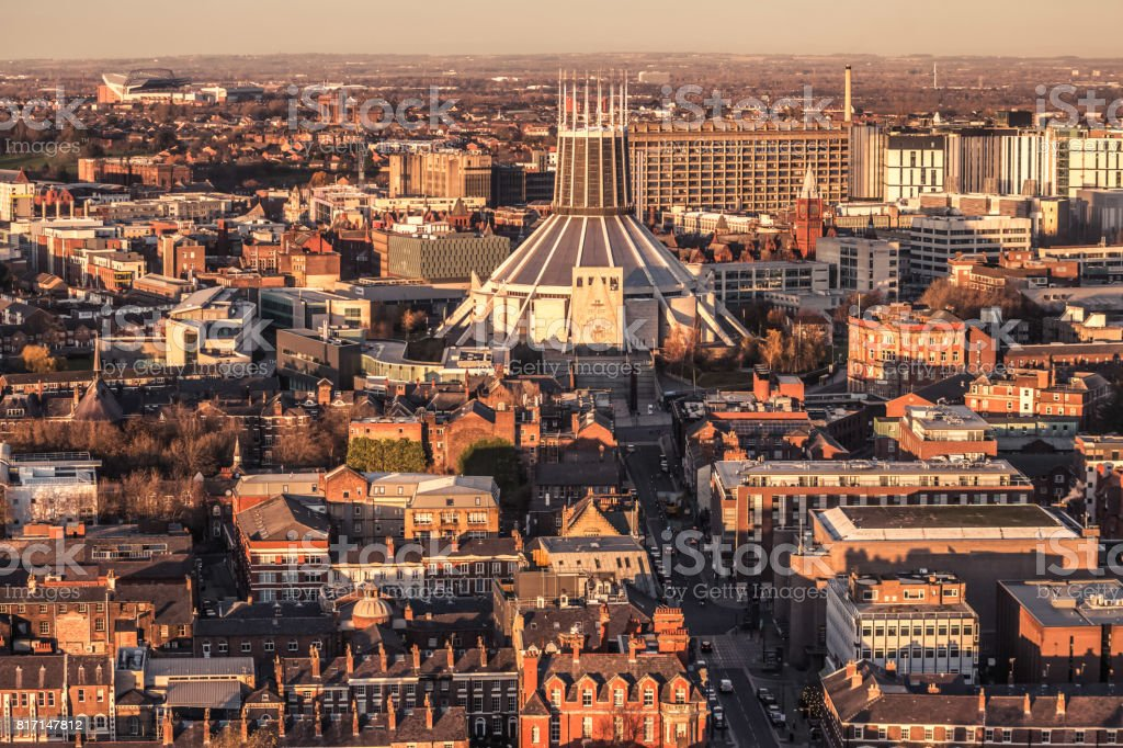 Liverpool City Aerial Panorama View During Sunset Stock Photo & More
