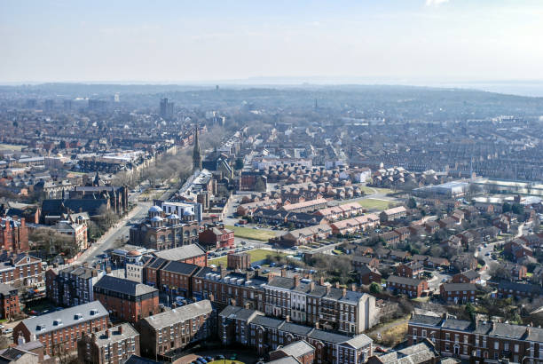 Liverpool cityscape from above Liverpool cityscape from above northwest england stock pictures, royalty-free photos & images