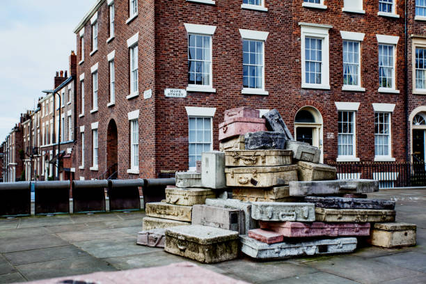 Liverpool, England, 2015 01 25 - Hope Street Suitcase Sculpture stock photo