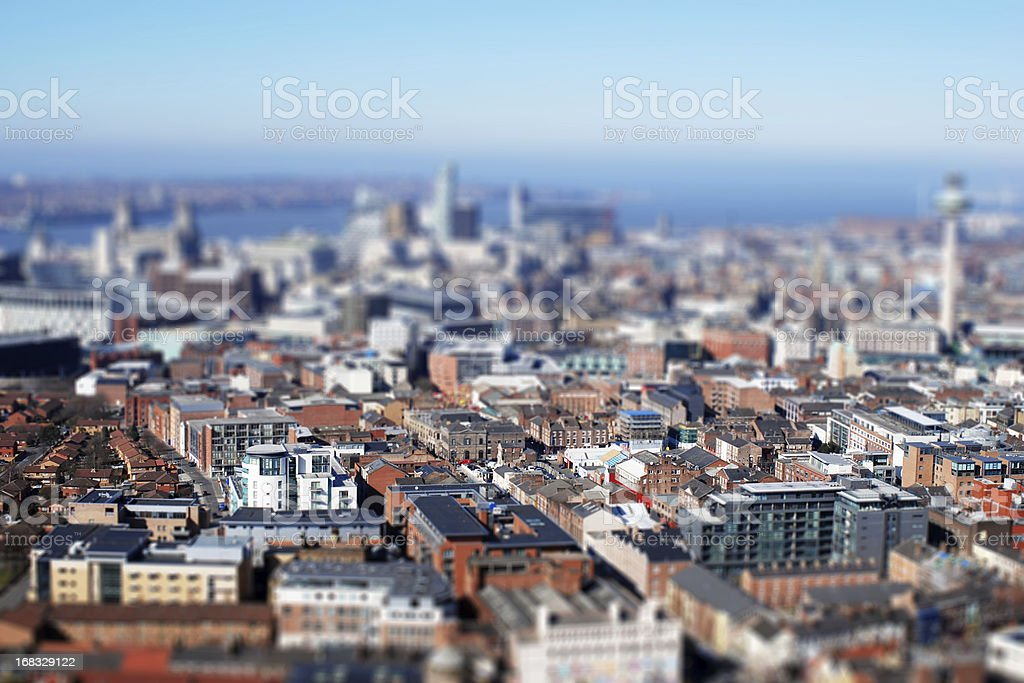 Liverpool from above, tilt-shift lens effect royalty-free stock photo