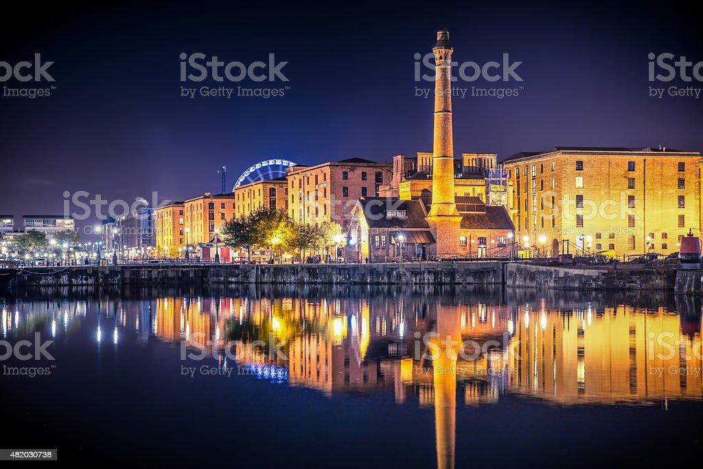 Liverpool Skyline Night stock photo