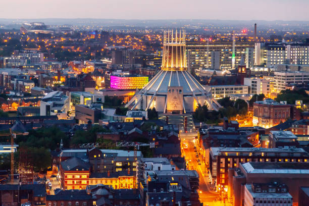 Liverpool skyline Liverpool skyline and Metropolitan cathedral northwest england stock pictures, royalty-free photos & images