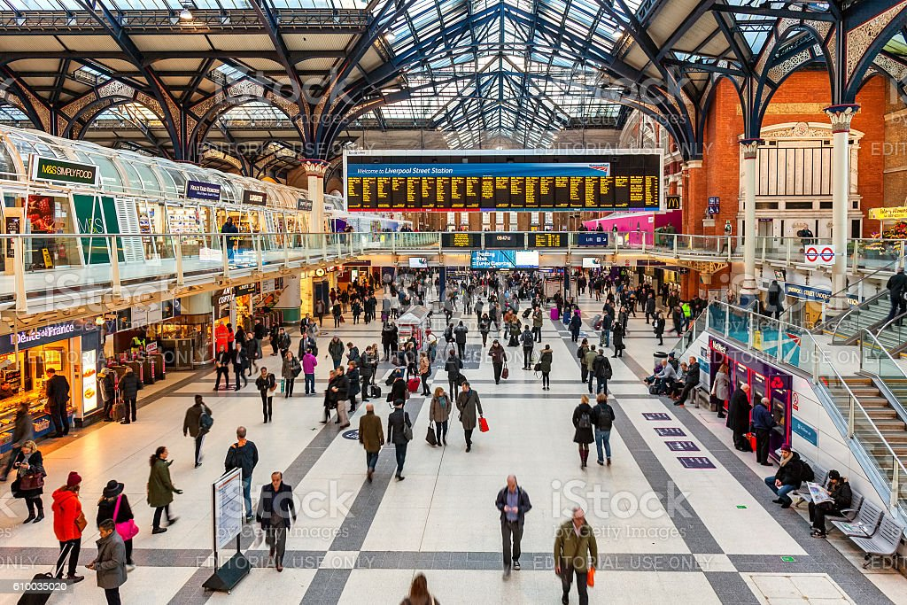 Liverpool station interior view. stock photo