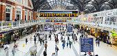 London, United Kingdom - August 24th 2013: people in Liverpool Street Railroad Station, London.