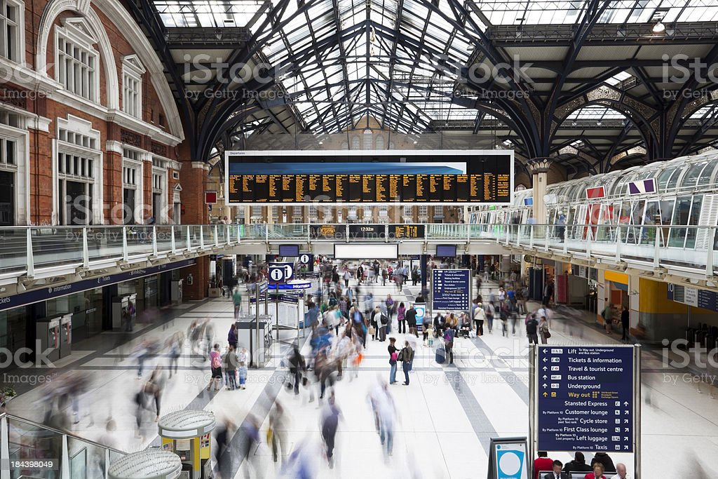 Liverpool Street Station at Rush Hour, Motion Blur, London, UK stock photo