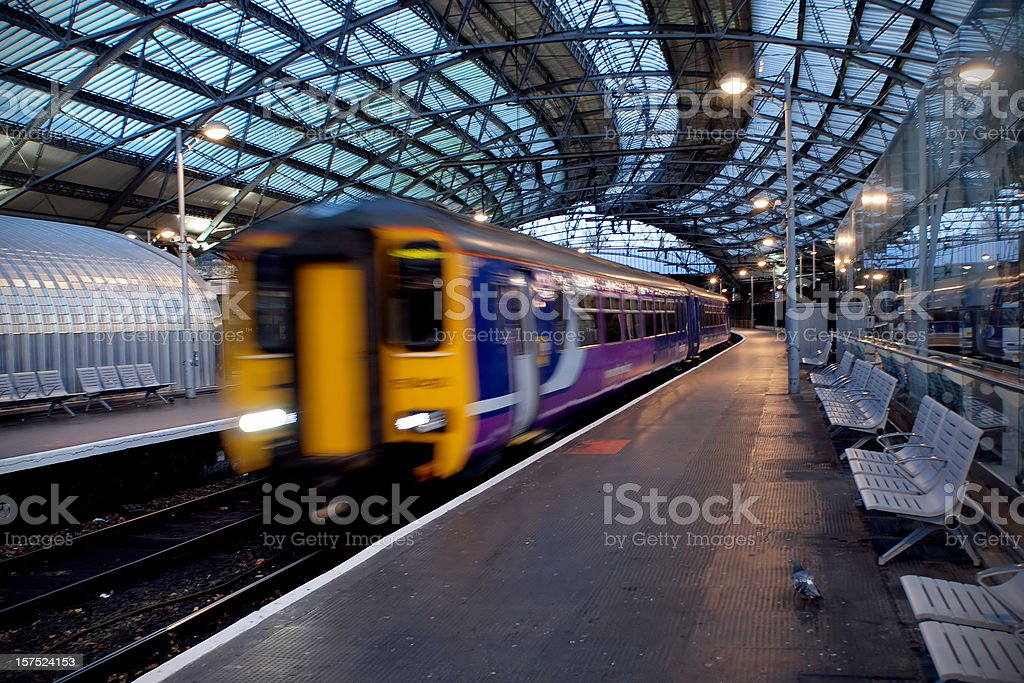 Liverpool train station motion blur stock photo