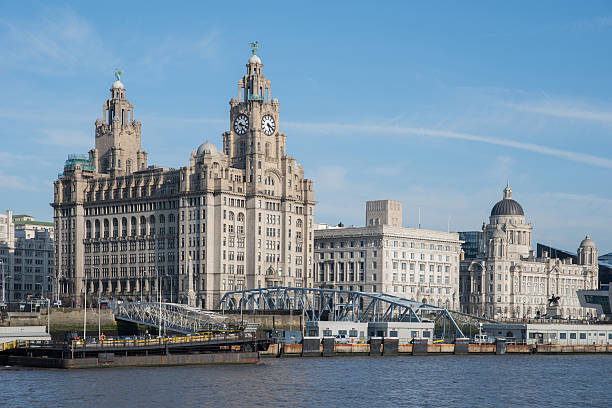 Liverpool Waterfront Views of the Royal Liver Building, Cunard Building and the Port of Liverpool Building. northwest england stock pictures, royalty-free photos & images