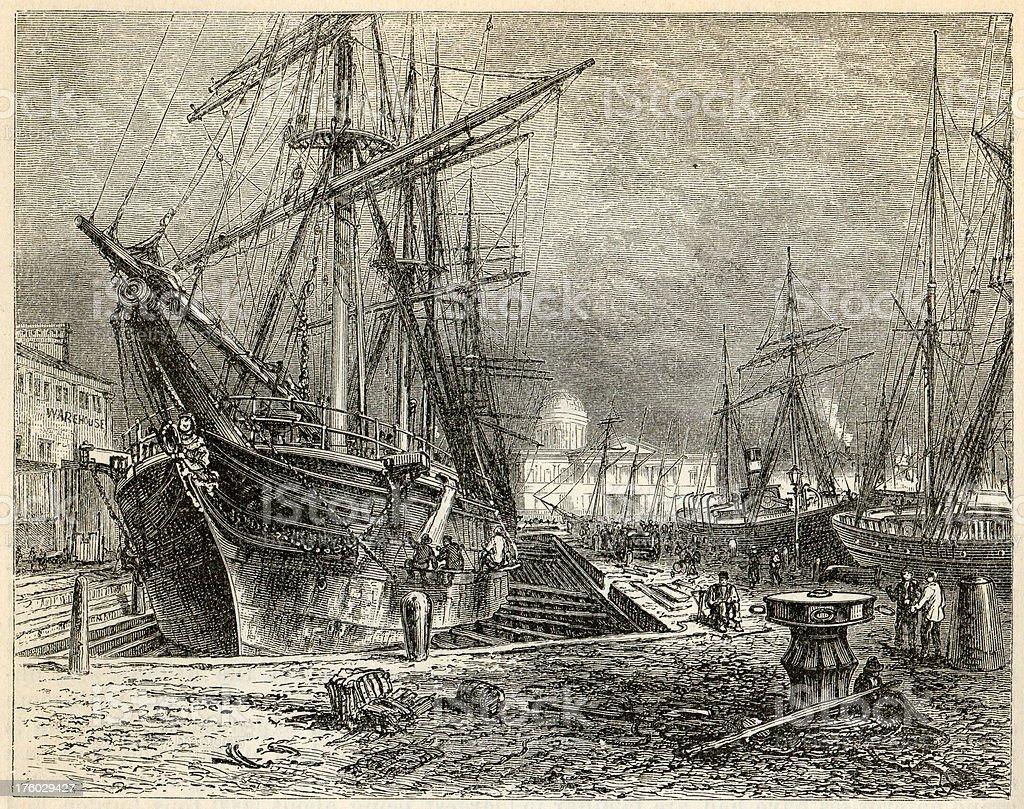 Liverpools graving-docks victorian engrave stock photo