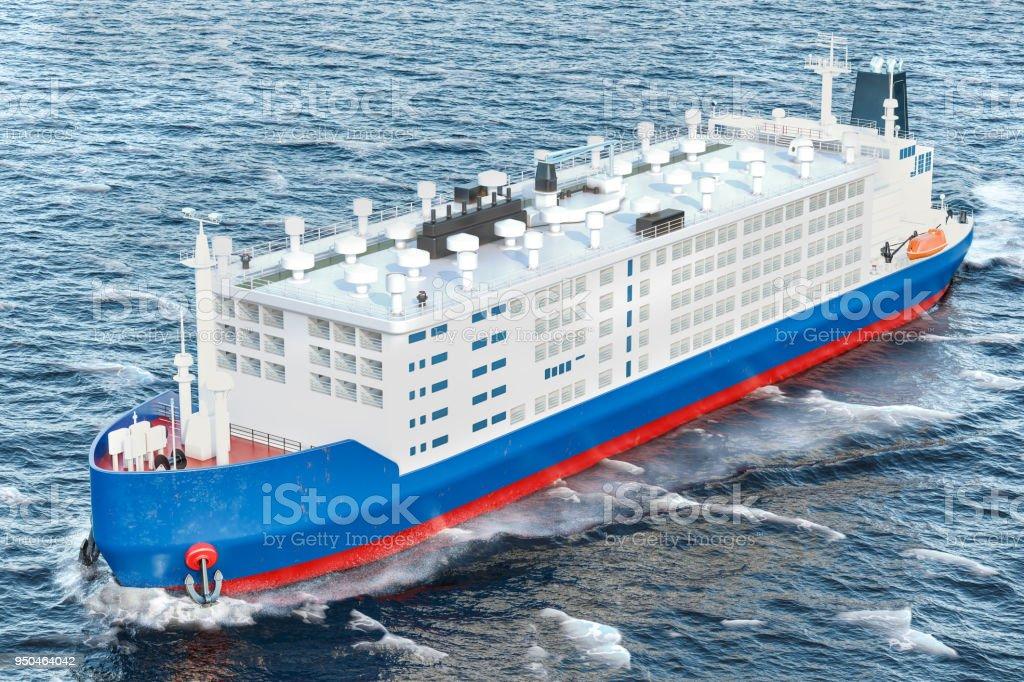 Livestock carrier ship in ocean, 3D rendering stock photo