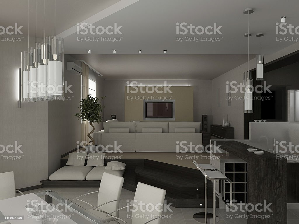 living a room with dining zone royalty-free stock photo