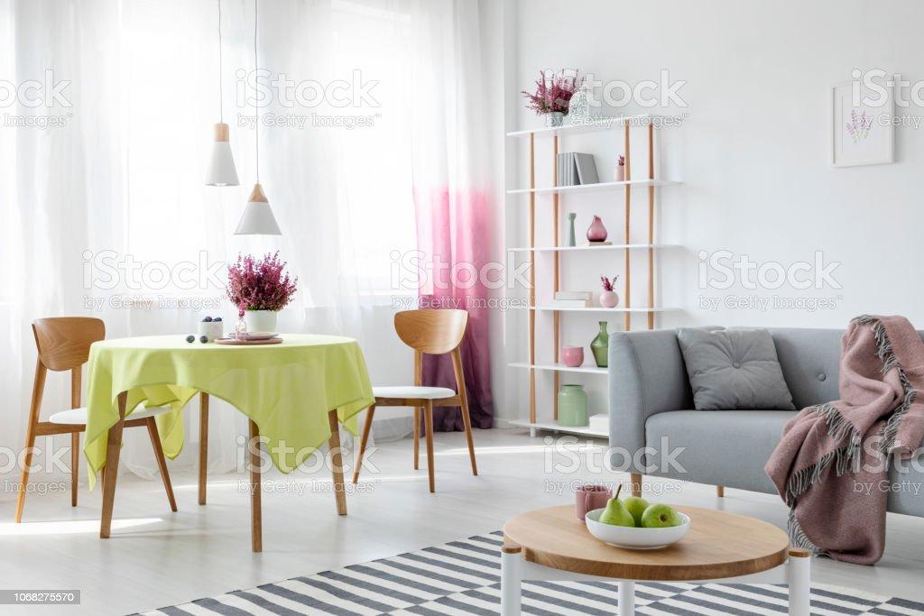 Salon Et Salle à Manger Dans Un Appartement Moderne Avec Canapé Gris Et  Meubles En Bois
