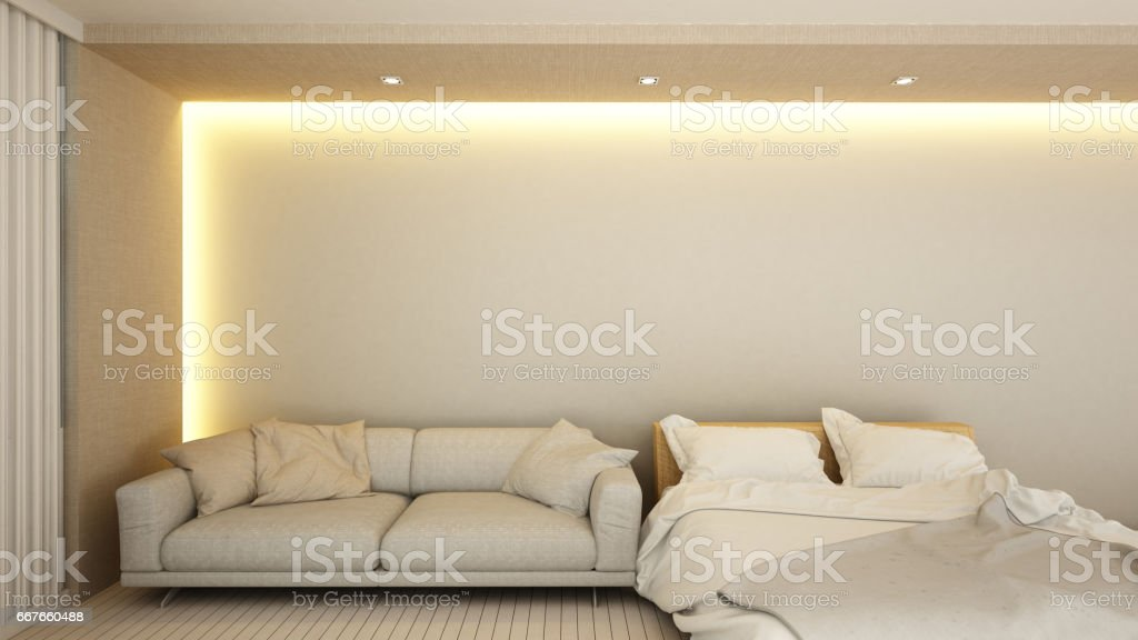 living area and bedroom in hotel or apartment stock photo