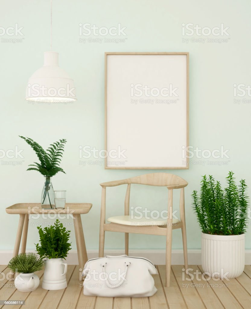 living area and frame for artwork in coffee shop or gallery royalty-free stock photo
