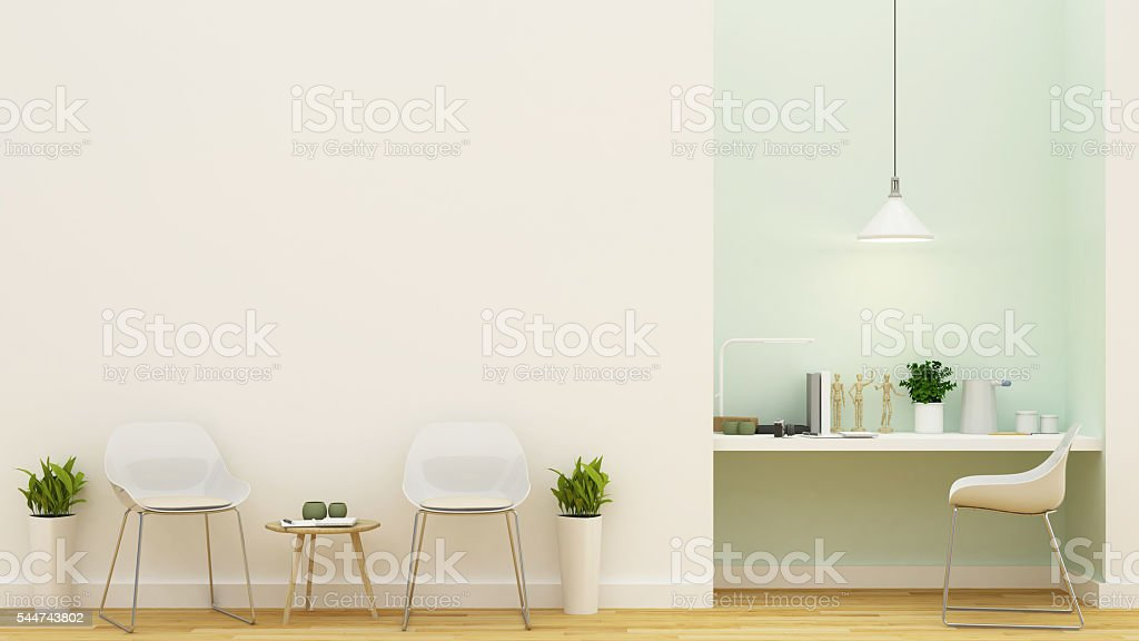 Living Area And Workspace Pastel Green Design 3d Rendering Stockfoto