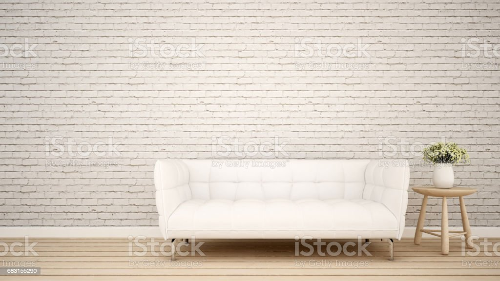 Living area in apartment or Home - 3D Rendering vector art illustration