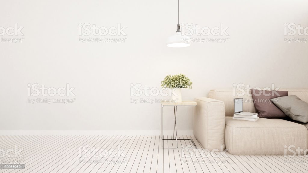 living area in house or apartment - 3D Rendering stock photo