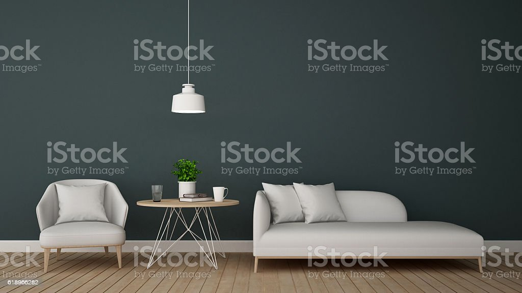 living area in lounge or coffee shop - 3D Rendering stock photo