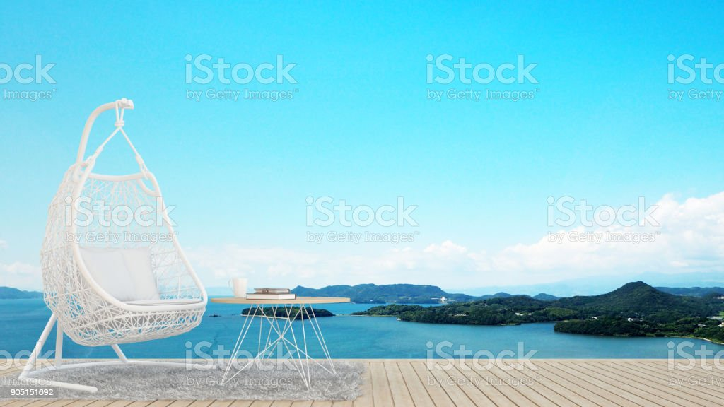 living area or dining area in restaurant or hotel - living area on balcony and sea view - artwork for holiday time - Blur background - 3D Rendering stock photo
