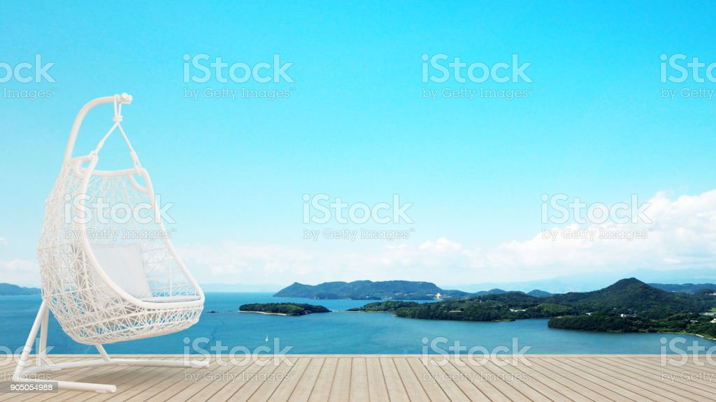 living area or relax area in condominium or hotel on island and sea background - artwork holiday - Blur background - 3D Rendering stock photo