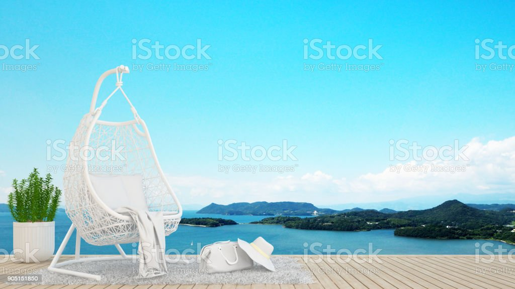 living area or relax area in hotel or condominium on island and sea background - artwork holiday - Blur background - 3D Rendering stock photo
