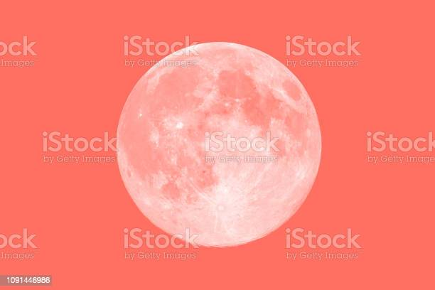 Photo of Living Coral Pantone color of the year 2019 toned full moon