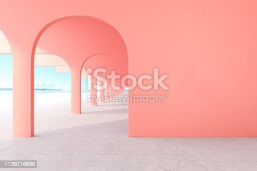 istock Living coral, pink color architectural corridor with empty wall, concrete floor, horizon line. 3d render illustration mock up 1139216690