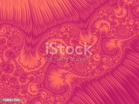 istock Living Coral Pink Peacock Feather Swirl Gradient Ornate Abstract Kalamkari Pattern Trendy Colors of Year 2019 Fractal Art 1096612050