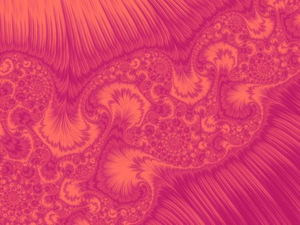 lebenden coral pink peacock feather wirbel gradient kunstvollen kalamkari muster trendfarben des jahres 2019 fraktale kunst - pfau bilder stock-fotos und bilder