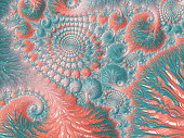 Abstract Living Coral Reef Colorful Sea Swirl Spiral Pattern Trendy Colors Bright Pastel Orange Teal Light Blue Fractal Fine Art Nautilus Sea Shell High Resolution