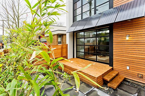 living green with solar panels - solar panel bildbanksfoton och bilder