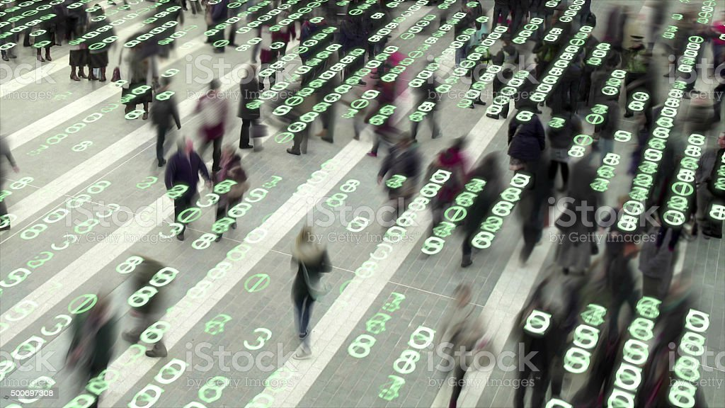 Living in a data matrix city. stock photo