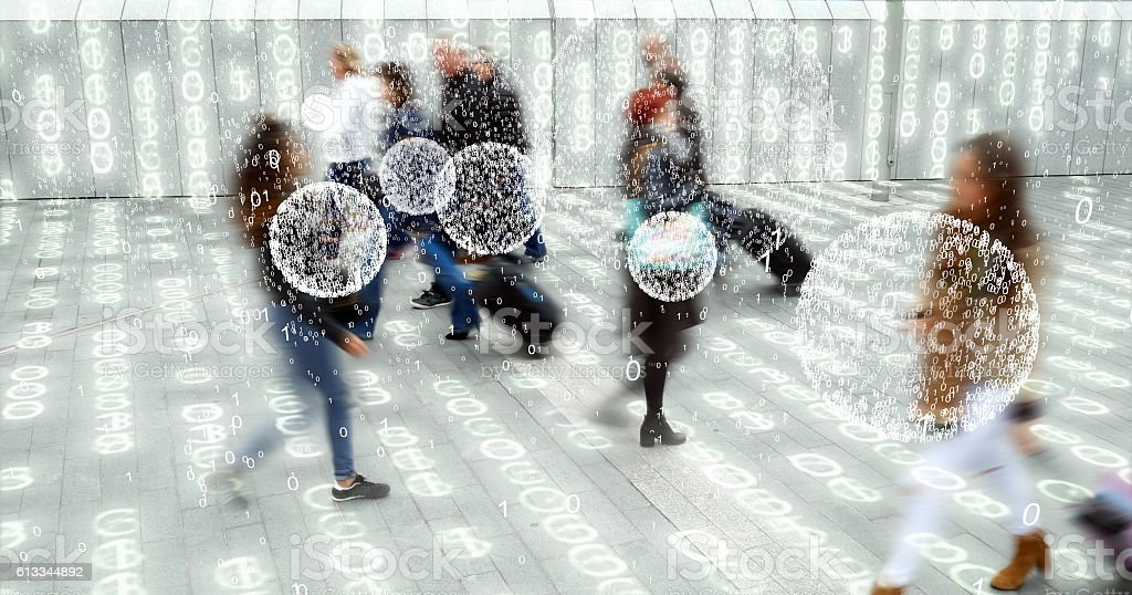 Living in a data matrix city with phone data. royalty-free stock photo