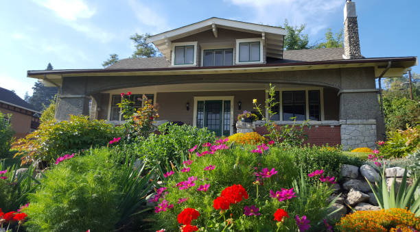living in a most beautiful garden and craftsman home - bungalow stock photos and pictures