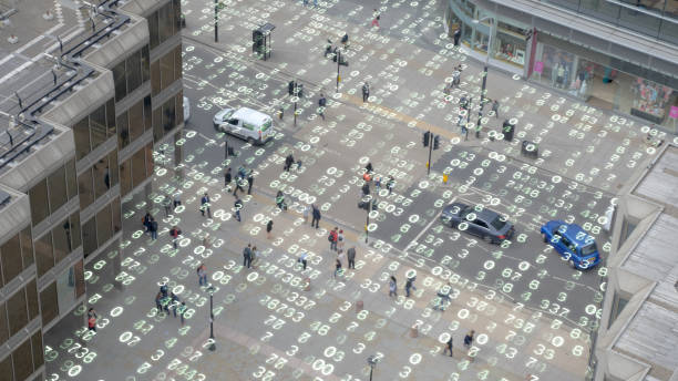 Leben in einer städtischen Matrix-Daten-Welt. – Foto