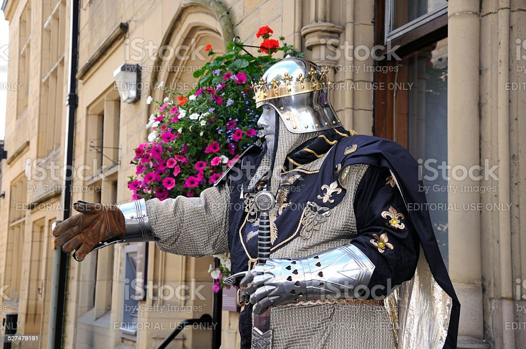 Living knight statue, Bakewell. stock photo
