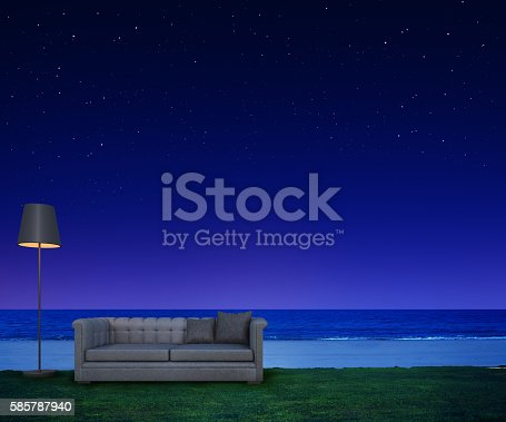 483959606 istock photo Living on night beach with stars and sea view 585787940