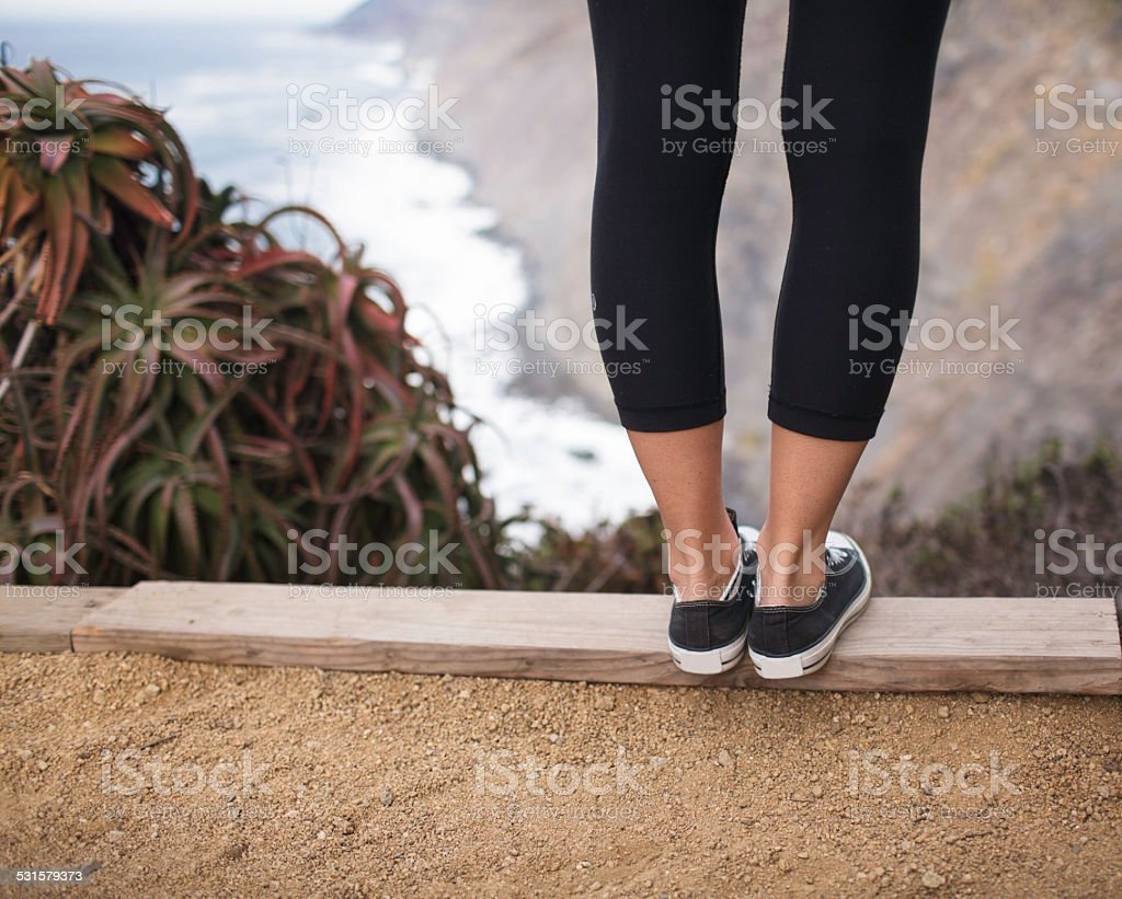 Living on the edge of life stock photo