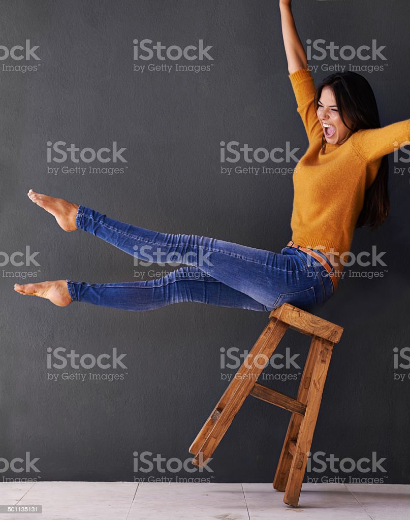 Living on the edge. Oh yeah! stock photo