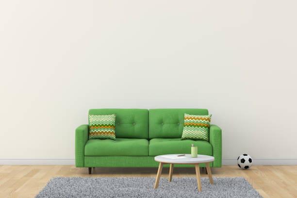 wohnzimmer 3d-rendering bild - fußball themenzimmer stock-fotos und bilder