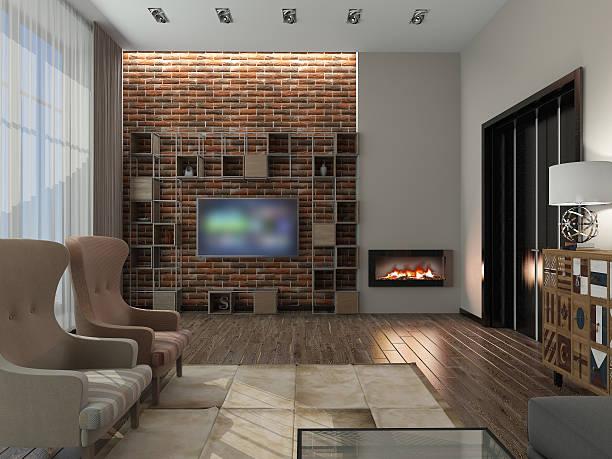 Wohnzimmer 3D-Abbildung – Foto