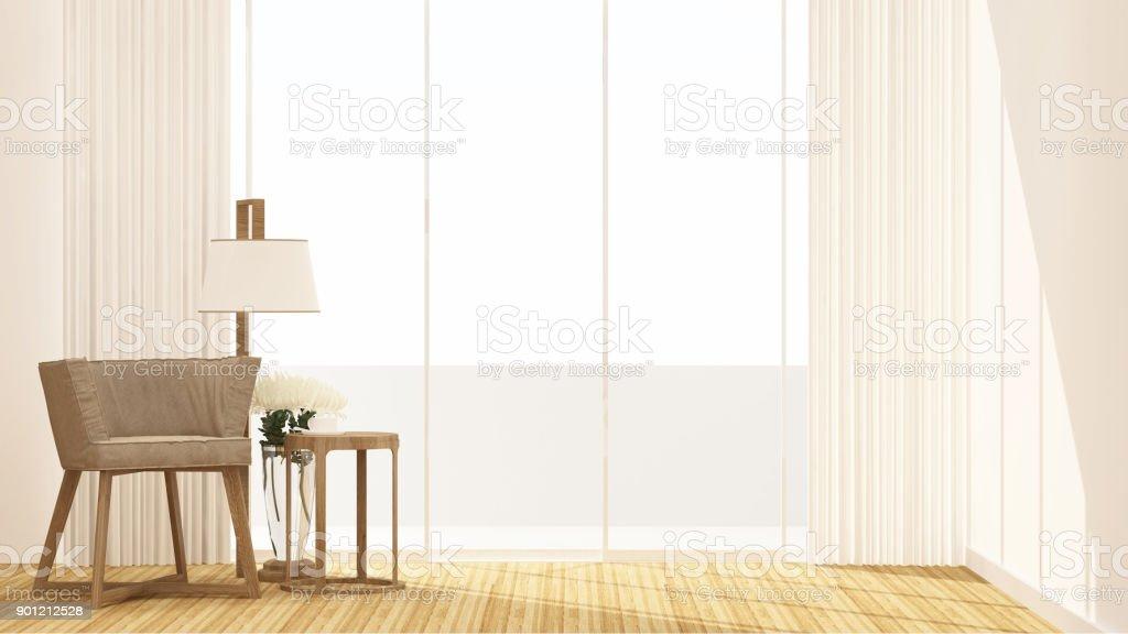 Wohnzimmer Und Balkon Auf Weißem Hintergrund Für Kunstwerke Zimmer Zur  Miete Oder Residenz   Innenarchitektur
