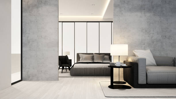 living room and bedroom in apartment or hotel - interior design - 3d rendering - concrete wall interior imagens e fotografias de stock