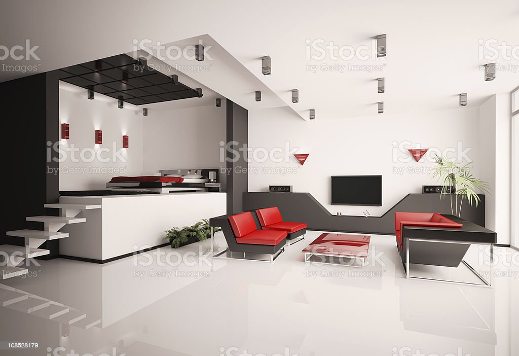 Living room and bedroom interior 3d royalty-free stock photo