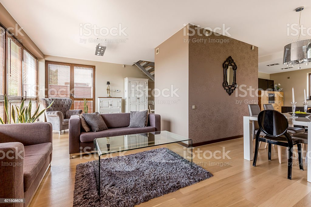 Living room and dining area combined Lizenzfreies stock-foto