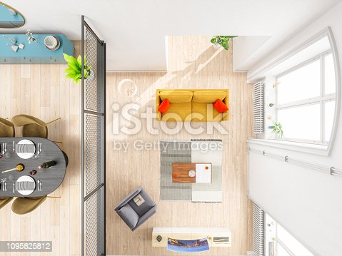 istock Living room and dining room with furniture overhead top view 1095825812
