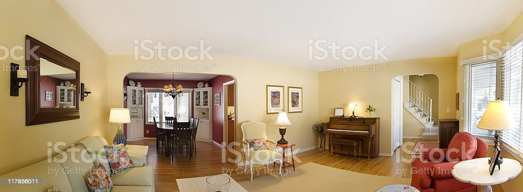 Living room and dining space stock photo